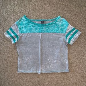 Gray and Turquoise Crop Top
